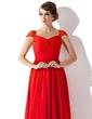 Çan/Prenses V Yaka Watteau Kuyruk Chiffon Gece Elbisesi Ile Büzgü Boncuklama (017013781)