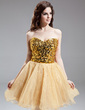 A-Line/Princess Sweetheart Short/Mini Organza Sequined Homecoming Dress (022016309)