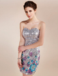 Sheath/Column Sweetheart Short/Mini Sequined Cocktail Dress With Beading Flower(s) (016019202)