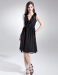 A-Line/Princess V-neck Knee-Length Chiffon Bridesmaid Dress With Cascading Ruffles (022015723)