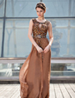 A-Line/Princess Scoop Neck Sweep Train Chiffon Mother of the Bride Dress With Ruffle Beading Sequins (008018942)