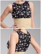 Sheath/Column Scoop Neck Short/Mini Chiffon Lace Cocktail Dress With Ruffle Beading Sequins (016019711)