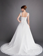 A-Line/Princess Sweetheart Chapel Train Chiffon Wedding Dress With Ruffle Beading Appliques Lace (002012698)