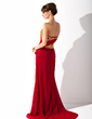 Trumpet/Mermaid One-Shoulder Sweep Train Chiffon Mother of the Bride Dress With Ruffle Sequins (008006477)