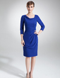 Sheath/Column Cowl Neck Knee-Length Chiffon Mother of the Bride Dress With Ruffle (008006465)