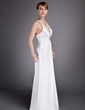 A-Line/Princess V-neck Floor-Length Charmeuse Mother of the Bride Dress With Ruffle Crystal Brooch (008016033)