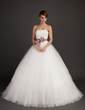 Ball-Gown Strapless Sweep Train Tulle Wedding Dress With Sash Appliques Lace Bow(s) (002015495)