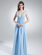 A-Line/Princess V-neck Floor-Length Chiffon Bridesmaid Dress With Ruffle Sash Bow(s) (007000846)
