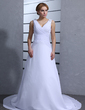 A-Line/Princess V-neck Chapel Train Chiffon Wedding Dress With Ruffle Beading Sequins (002012823)