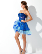 A-Line/Princess Sweetheart Asymmetrical Tulle Homecoming Dress With Beading Appliques Lace Cascading Ruffles (022021011)