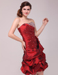 A-Line/Princess Sweetheart Knee-Length Taffeta Cocktail Dress With Ruffle Beading (016013992)
