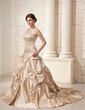 Ball-Gown Sweetheart Chapel Train Satin Wedding Dress With Embroidered Ruffle Beading (002011639)