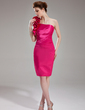 Sheath/Column One-Shoulder Knee-Length Charmeuse Homecoming Dress With Ruffle Flower(s) (022003371)