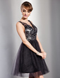 A-Line/Princess V-neck Knee-Length Tulle Sequined Cocktail Dress (016014726)