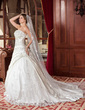 Ball-Gown Strapless Chapel Train Satin Wedding Dress With Ruffle Beading Appliques Lace Sequins (002000616)