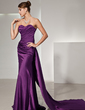 A-Line/Princess Sweetheart Watteau Train Charmeuse Evening Dress With Ruffle (017014444)