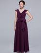 A-Line/Princess V-neck Ankle-Length Chiffon Bridesmaid Dress With Bow(s) Cascading Ruffles (007037191)