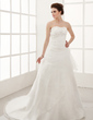 A-Line/Princess Sweetheart Chapel Train Satin Organza Wedding Dress With Beading Appliques Lace Flower(s) Cascading Ruffles (002001282)