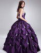 Balo Elbisesi Kalp Kesimli Uzun Etekli Taffeta Quinceanera (15 Yaş) Elbisesi Ile Büzgü Boncuklama Aplike (021004652)