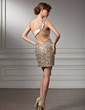 Sheath/Column One-Shoulder Short/Mini Charmeuse Sequined Cocktail Dress With Ruffle (016008367)