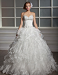 Ball-Gown Sweetheart Floor-Length Satin Organza Wedding Dress With Beading Sequins Cascading Ruffles (002013819)