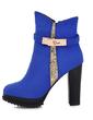 Süet Kalın Topuk Ayak bileği Boots Ile Toka ayakkabı (088056545)