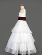 A-Line/Princess Floor-length Flower Girl Dress - Organza/Satin Sleeveless Scoop Neck With Ruffles/Sash (010014639)
