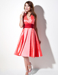 A-Line/Princess Halter Knee-Length Taffeta Bridesmaid Dress With Ruffle Sash (007001014)