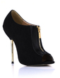 Suede Patent Leather Stiletto Heel Sandals Peep Toe Ankle Boots With Zipper shoes (085022648)