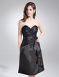 A-Line/Princess Sweetheart Knee-Length Charmeuse Cocktail Dress With Beading Appliques Lace Cascading Ruffles (022039564)