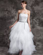A-Line/Princess Strapless Asymmetrical Tulle Prom Dress With Beading Sequins Cascading Ruffles (018015016)