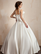 Ball-Gown V-neck Floor-Length Satin Wedding Dress With Ruffle Bow(s) (002001192)