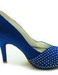 Women's Satin Stiletto Heel Peep Toe Platform Sandals With Rhinestone (047018129)