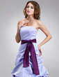 A-Line/Princess Strapless Floor-Length Satin Bridesmaid Dress With Ruffle Sash (007001855)