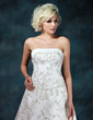A-Line/Princess Strapless Chapel Train Satin Organza Wedding Dress With Embroidered Beading Sequins (002000245)