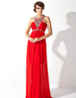 A-Line/Princess Scoop Neck Sweep Train Chiffon Prom Dress With Ruffle Beading Appliques Lace Split Front (018021090)