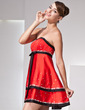 Empire Strapless Short/Mini Satin Homecoming Dress With Sash Sequins Bow(s) (022014421)