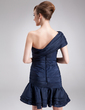 A-Line/Princess One-Shoulder Short/Mini Taffeta Cocktail Dress With Ruffle Flower(s) (016016867)