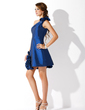 A-Line/Princess One-Shoulder Short/Mini Taffeta Homecoming Dress With Beading Flower(s) (022009006)