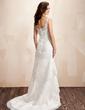 Forme Princesse Bustier en coeur Traîne moyenne Satiné Robe de mariée avec Dentelle Emperler (002000223)