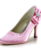 Women's Satin Stiletto Heel Closed Toe Pumps With Bowknot Rhinestone (047016590)