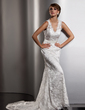 Trumpet/Mermaid V-neck Court Train Lace Wedding Dress With Bow(s) (002013766)
