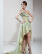 A-Line/Princess One-Shoulder Asymmetrical Taffeta Prom Dress With Ruffle Beading (018021099)