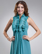 A-Line/Princess V-neck Floor-Length Chiffon Bridesmaid Dress With Ruffle (007004292)