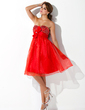 Empire Sweetheart Knee-Length Organza Homecoming Dress With Beading Flower(s) Bow(s) (022009882)