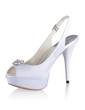 Women's Silk Like Satin Cone Heel Peep Toe Platform Sandals Slingbacks With Buckle Rhinestone (047026740)