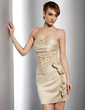 Sheath/Column Strapless Short/Mini Satin Cocktail Dress With Ruffle Beading Appliques Lace Flower(s) (016014733)
