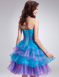 A-Line/Princess Sweetheart Knee-Length Organza Homecoming Dress With Beading Cascading Ruffles (022011014)