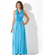 A-Line/Princess V-neck Ankle-Length Chiffon Prom Dress With Ruffle Beading Appliques Lace Flower(s) Sequins (018004831)