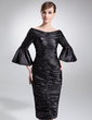 Sheath/Column Off-the-Shoulder Knee-Length Charmeuse Mother of the Bride Dress With Ruffle (008006229)